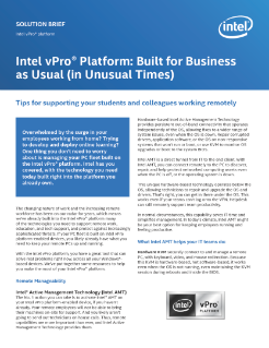 Business as Usual: Intel vPro® Platform