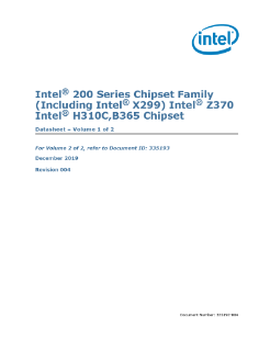 Datasheet, Vol. 1: Intel® 200 Series Chipset Family PCH