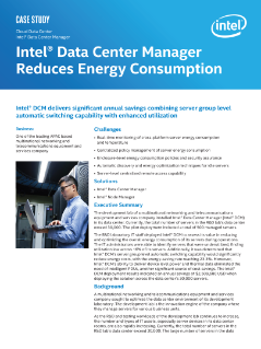Intel® Data Center Manager Reduces Energy Consumption