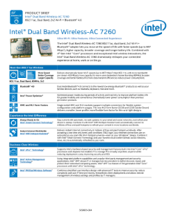 Product Brief: Intel® Dual Band Wireless-AC 7260 Plus Bluetooth® 4.0