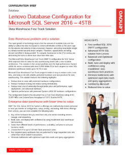 Lenovo Database Configuration for Microsoft SQL Server* 2016