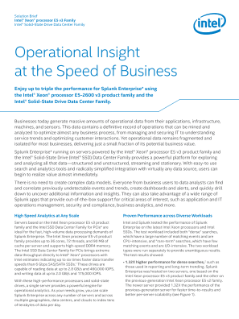 Splunk Enterprise*: Operational Insight at the Speed of Business