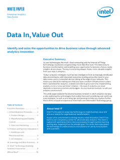 Identify and Seize the Opportunities to Drive Business Value Through Advanced Analytics Innovation